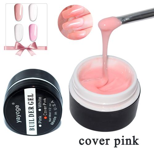 YAYOGE Builder Gel for Nail extensions LED uv nail gel polish Hard gel varnish 15g Pink Clear White false tips Long Black case